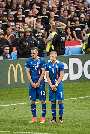 Gylfi Sigurðsson - Gylfi playing for Iceland in the UEFA Euro 2016 game against Hungary