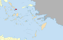 In red, Mykonos and neighboring Rineia and Delos islands within the South Aegean