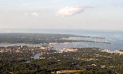 Aerial view of Annapolis, Maryland, Chesapeake Bay, and Chesapeake Bay Bridge