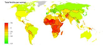 Sub-replacement fertility - Total fertility rate as of 2013