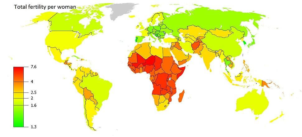 2013 Fertility per woman world map
