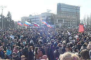Donetsk People's Republic - Flags of the Donetsk Republic and Russia in Donetsk, 8 March 2014
