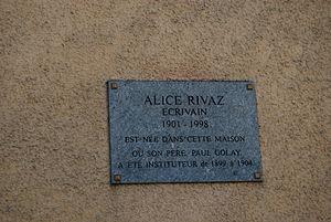 Alice Rivaz - Commemorative plaque in Rovray