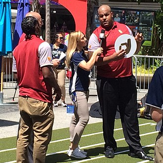 Zach Banner - Banner at the 2016 Pac-12 Conference Media Days with then teammate Adoree' Jackson and head coach Clay Helton.