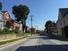 2016-08-20 10 12 12 View north along Maryland State Route 27 (Liberty Street) at Chase Street in Westminster, Carroll County, Maryland.jpg
