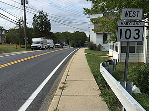 Maryland Route 103 - View west along MD 103 in Elkridge