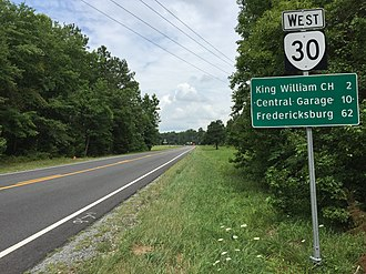 Virginia State Route 30 - View west along SR 30 in King William County
