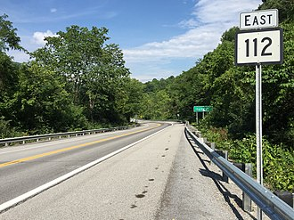 West Virginia Route 112 - View east along WV 112 at I-77 in Ingleside