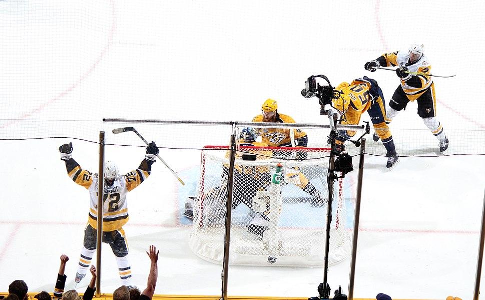 2017 SCF Game 6 Hornqvist celebrates game winning goal