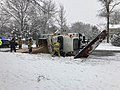 2019-01-13 15 49 19 Fairfax County Police, Fire and Rescue on the scene of a tipped-over plow truck during a heavy snowfall along Franklin Farm Road in the Franklin Farm section of Oak Hill, Fairfax County, Virginia.jpg