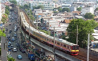 KRL Commuterline - A 205 series commuter train owned by Kereta Commuter Indonesia in service on Red Line