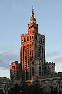 high-rise building and house of culture in Warsaw,Poland
