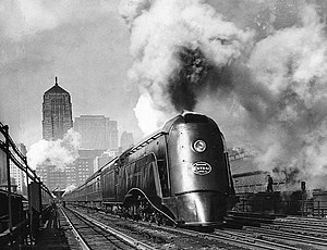 LaSalle Street Station - The 20th Century Limited being pulled out of LaSalle Street Station by the Commodore Vanderbilt locomotive