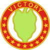 "A hollow red circle with stars and the word ""Victory"", inside a green leaf"