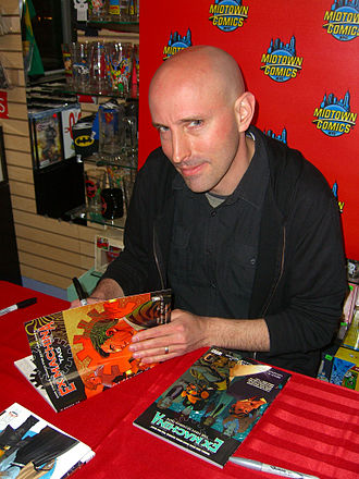 Ex Machina (comics) - Writer Brian K. Vaughan signing copies of the book at Midtown Comics in Manhattan.