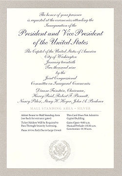 First inauguration of barack obama wikipedia silver bordered ticket with silver cursive lettering to the inauguration of barack obama for the stopboris Choice Image