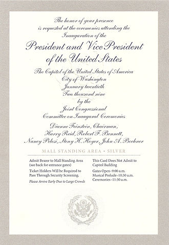 First inauguration of Barack Obama - One of the color-coded tickets issued by members of the 111th U.S. Congress