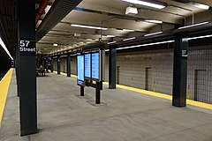 An empty subway platform at the 57th Street station in Manhattan