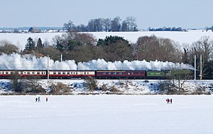February 2009 Great Britain and Ireland snowfall - The snow provided an almost continuous photographic backdrop for the historic 250 mile run of the brand new steam locomotive No. 60163 ''Tornado'' hauling The Talisman from Darlington to London on 7 February. It is seen here passing through Hertfordshire