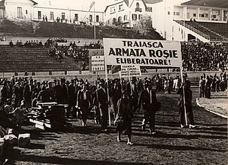 Romanian Communist Party - October 1944 rally in support of the National Democratic Front, held at Bucharest's ANEF Stadium