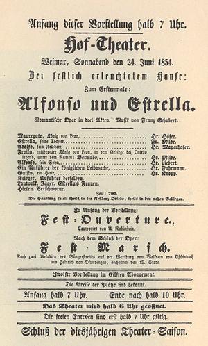 Alfonso und Estrella - Playbill Weimar 1854, conductor Liszt