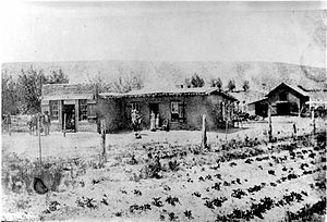 Farmington, New Mexico - A.F. Miller store and home, Farmington, circa 1885, the first store in Farmington.