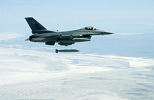 Glide bomb - An F-16C releases an AGM-154 JSOW. Range: 12nm (low altitude launch), 70nm (high altitude launch).