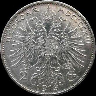 Austro-Hungarian krone - Image: AHK 2 coronae 1913 reverse