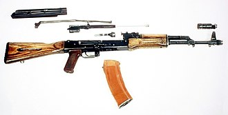 AK-74 - The AK-74 stripped down to its major components.