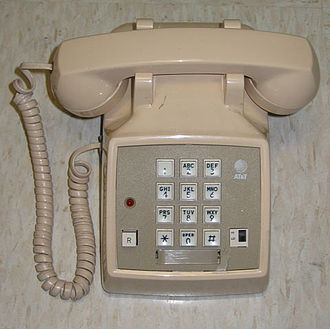 "Hook flash - Typical standard phone used with Centrex. Note the ""Recall"" button and the Message Waiting Lamp."