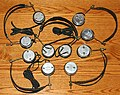 A Small Collection Of 1920s-Era Headphones, From Top Right - C. Brandes Superior, Brandes Superior, Wiener Wireless Speciality Co., Tektor Corp., & C. Brandes (C), All Made In USA (36279298012).jpg