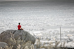 Yogashikha Upanishad - Image: A man in yoga asana meditating in Albuquerque NM