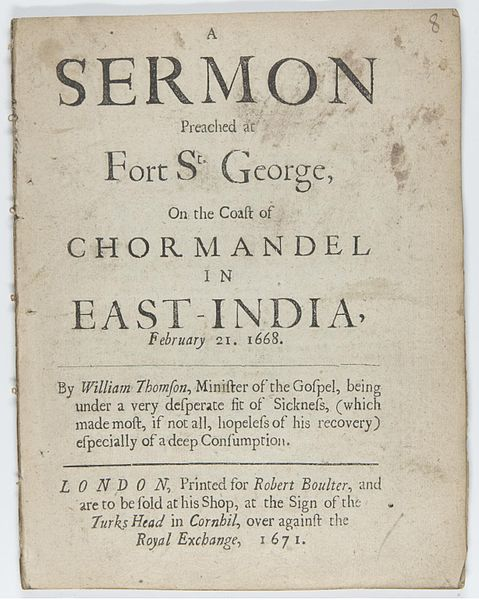 File:A sermon preached at Fort St. George on the coast of Chormandel in East India, February 21 1668.jpg