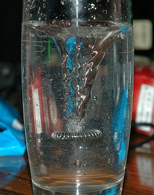 A whirlpool in a glass of water