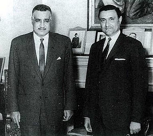 Adnan Pachachi - Pachachi (right) with Gamal Abdel Nasser (1966)