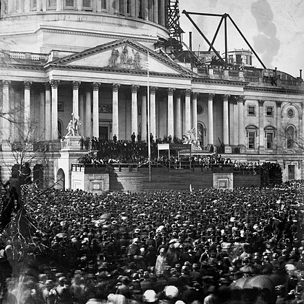 March 1861 inaugural at the Capitol building. The dome above the rotunda was still under construction. Abraham lincoln inauguration 1861.jpg