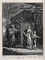 Abraham banishes Hagar and Ishmael; Sarah and Isaac look on. Wellcome V0034249.jpg