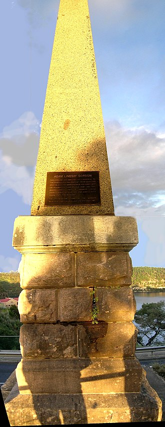 Adam Lindsay Gordon - The Adam Lindsay Gordon obelisk at the Blue Lake.