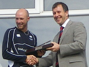 Adam Lyth - Adam Lyth collecting the 2008 Yorkshire County Cricket Club Young Player of the Year award from Stewart Regan.