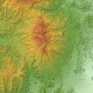 Mount Adatara - Relief Map of Adatara Volcano.