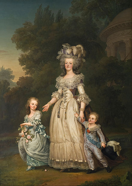 Marie Antoinette with her two eldest children, Marie-Therese Charlotte and the Dauphin Louis Joseph, in the gardens of the Petit Trianon (by Adolf Ulrik Wertmuller, 1785) Adolf Ulrik Wertmuller - Queen Marie Antoinette of France and two of her Children Walking in The Park of Trianon - Google Art Project.jpg