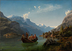 Adolph Tidemand & Hans Gude - Bridal Procession on the Hardangerfjord - Google Art Project.jpg