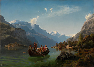 Hans Gude - Bridal Procession on the Hardangerfjord, by  Adolph Tidemand and Hans Gude