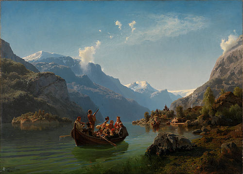 Brudeferden i Hardanger (Bridal procession in Hardanger), a monumental piece within Norwegian romantic nationalism. Painted by Hans Gude and Adolph Tidemand.