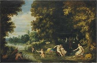 Adriaen van Stalbemt - Diana and Callisto, Actaeon in the distance