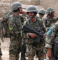 Afghan National Army soldiers with the 6th Kandak, 1st Brigade, 205th Corps prepare for a patrol in Panjwai district in southern Kandahar province, Afghanistan, April 1, 2012 120401-N-BS894-177.jpg
