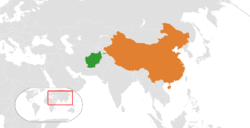 Map indicating locations of Afghanistan and People's Republic of China