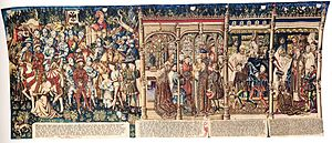 The Justice of Trajan and Herkinbald - A free copy in tapestry of The Justice of Trajan and Herkinbald now in the Historical Museum of Bern.