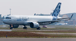 Airbus A320neo first takeoff at Toulouse Blagnac Airport 03.jpg