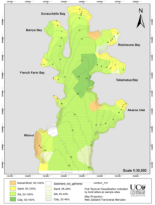 figure 2 map of akaroa harbour showing a fining of sediments with increased bathymetry toward the central axis of the harbour taken from hart et al